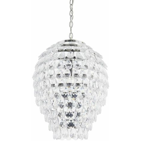 Chrome and Clear Jewel Pineapple Style Ceiling Light Pendant