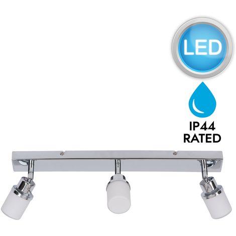 Chrome and Opal Glass Bathroom Ceiling 3 Way Spot Light Plate with LED Bulbs