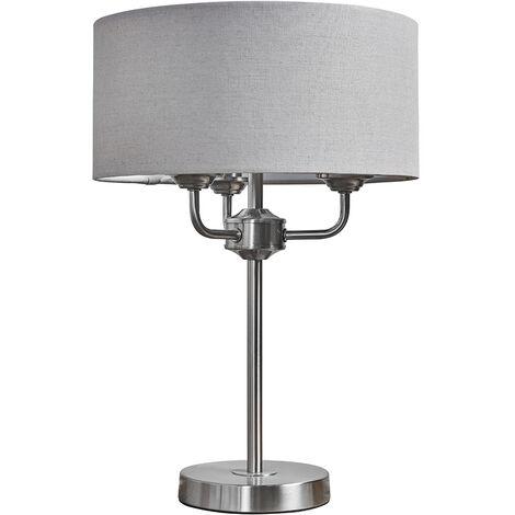 Chrome Base 3 Way Table Lamp Grey Linen Lampshade LED - No Bulb - Silver