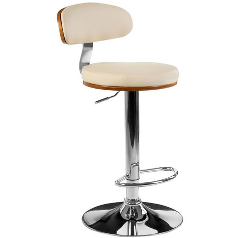 Chrome Base Finish Bar Chair In Cream Leather Effect Bentwood
