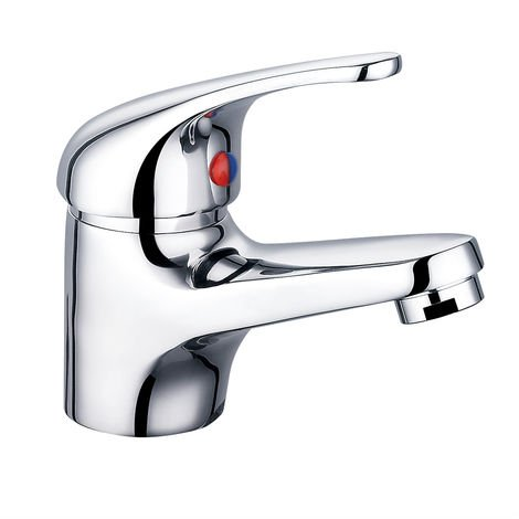 Chrome Basin Sink Mixer Tap Small Modern Bathroom Lever Faucet