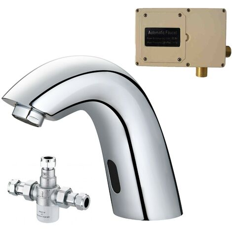 Chrome Basin Sink Mono Mixer Tap Infrared Sensor Activated Automatic TMV3 Valve