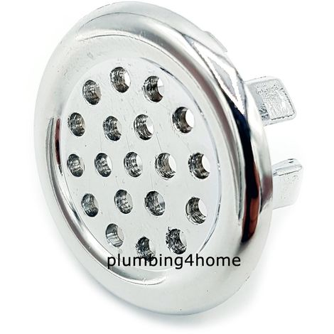 Chrome Basin Sink Overflow Cover Insert Hole Trim with Mesh