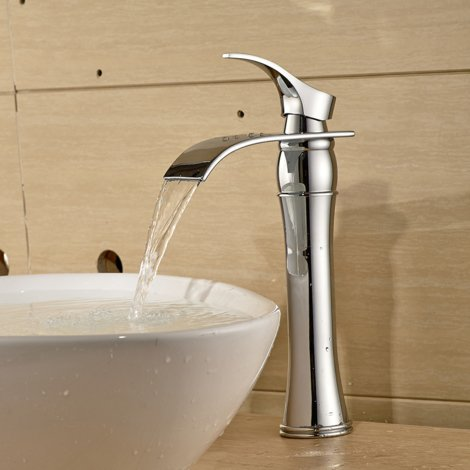 Chrome Bathroom Basin Mixer Tap, Tall Single Lever Hot and Cold Water Fuacet