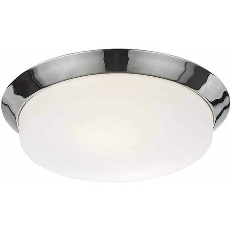 Chrome bathroom ceiling light 2 Bulbs Diameter 33 Cm