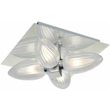 Chrome bathroom ceiling light 4 Bulbs Width 25 Cm