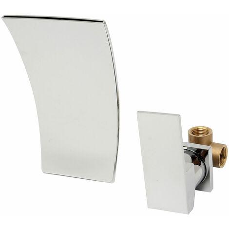 Chrome bathroom sink basin, wall mounted waterfall mixer, length 19cm Mohoo