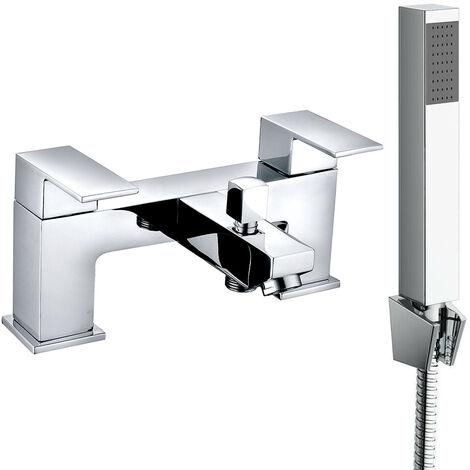 Square Twin Filler Mixer Tap & Bath Filler Hand Held Shower Head Set