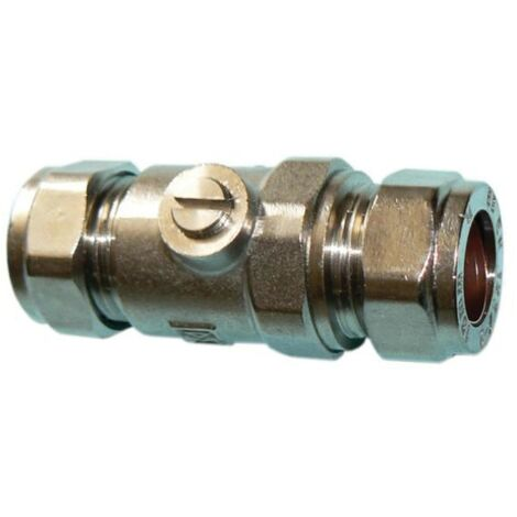 Chrome Brass Compression Isolating Valve 15mm