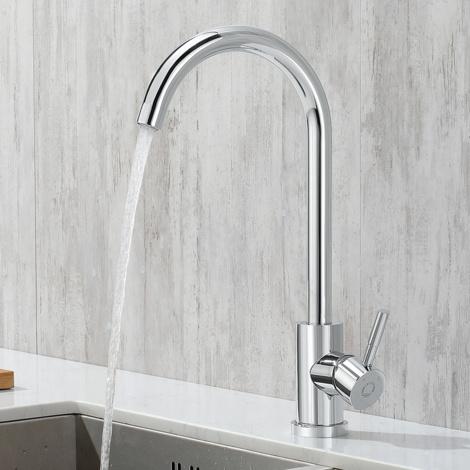 Chrome Brass Kitchen Sink Mixer Tap, Single Lever Monobloc 360 Degree Rotation Spout Taps