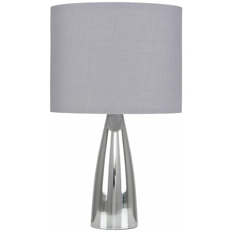Chrome Bullet Table Lamp + Grey Shade 4W LED Bulb Warm White
