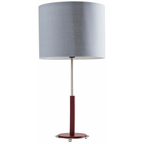 Chrome & Burgundy Table Lamp + Grey Shade + 4W LED Golfball Bulb Warm White