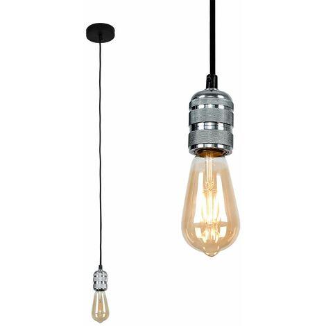 Chrome Ceiling Lampholder - 4W LED Filament Light Bulb Warm White