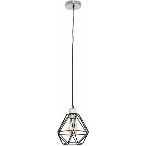 Chrome Ceiling Lampholder + Black Shade 4W LED Filament Bulb Warm White