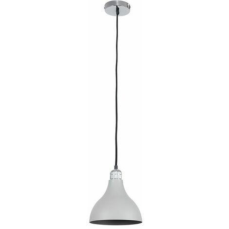Chrome Ceiling Lampholder + Cement/Stone Grey Light Shade