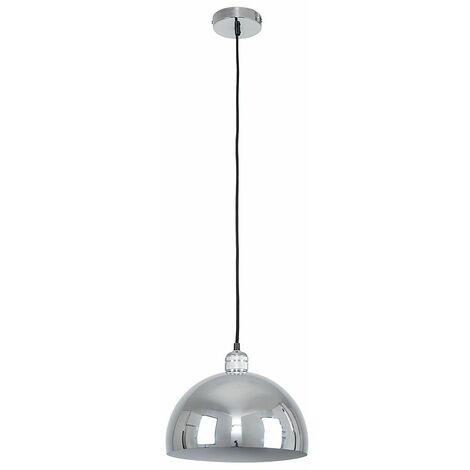 Chrome Ceiling Lampholder + Chrome Curved Light Shade 4W LED Filament Bulb Warm White