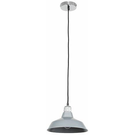 Chrome Ceiling Lampholder + Grey Light Shade An 8W LED Filament Bulb Warm White