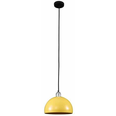 Chrome Ceiling Lampholder With Retro Domed Light Shade - Yellow