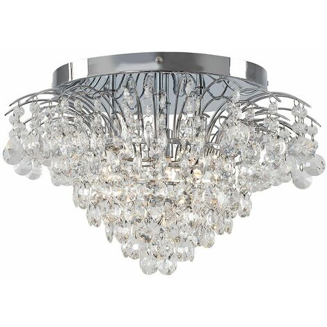 Chrome Ceiling Light K9 Crystal Glass Jewel Droplet