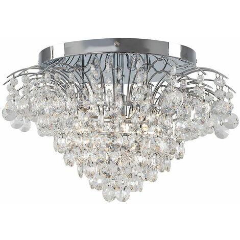 Chrome Ceiling Light K9 Crystal Glass Jewel Droplet - Silver