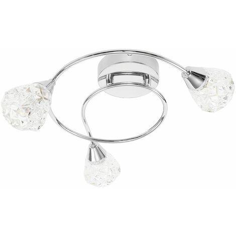 Chrome Ceiling Lights K5 Crystal Lamp Shades + LED Bulbs - Silver