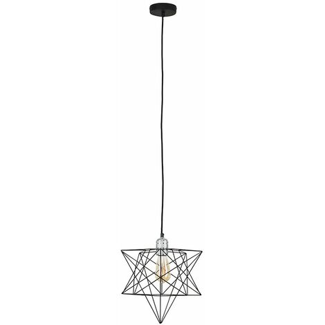 Chrome Ceiling Pendant Light + Black Geometric Star Shade - 4W LED Filament Bulb Warm White