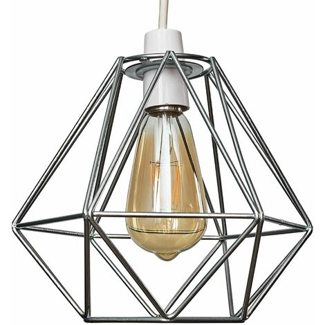 Chrome Ceiling Pendant Light Shade - 4W LED Filament Bulb Warm White