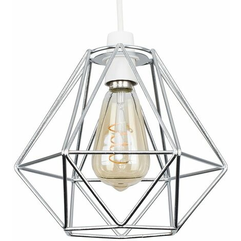 Chrome Ceiling Pendant Light Shade - 4W LED Helix Filament Bulb 2200K Warm White