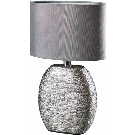 Chrome Ceramic Table Lamp + Grey Fabric Light Shade + 4W LED Golfball Bulb - Warm White