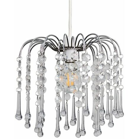 Chrome Chandelier Ceiling Pendant Light Shade with Clear Acrylic Jewel Droplets