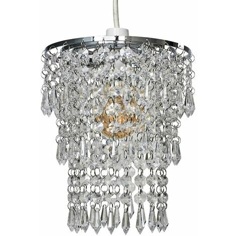 Chrome Chandelier Pendant Shade + Clear Acrylic Jewel Droplets