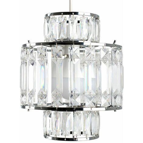 Chrome & Clear Acrylic Jewel Ceiling Pendant Light Shade