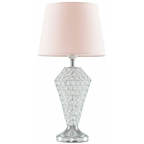 Chrome Clear Crystal Jewel Diamond Touch Table Lamp Pink Shade A9212