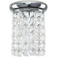 Chrome & Clear K5 Crystal Jewel Droplet Flush Ceiling Light - 6w LED GLS Bulb 3000K Warm White