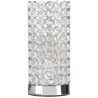 Chrome & Clear K9 Genuine Crystal Cylinder Touch Dimmer Table Lamp