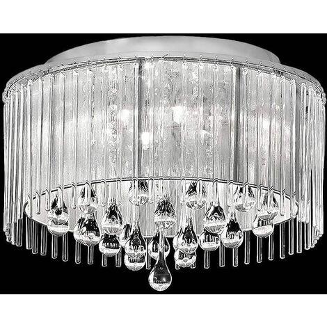 Chrome crystal ceiling lamp Spirit 6 Bulbs