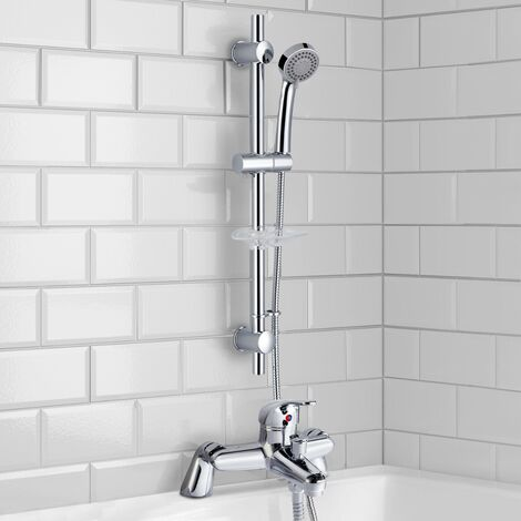 Chrome Deck Mounted Bath Filler Shower Mixer Slider Rail Handset Kit