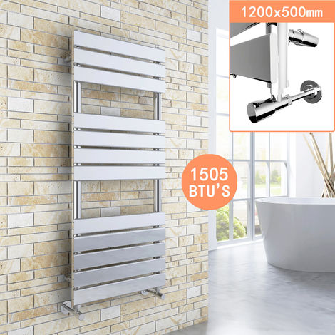 Chrome Designer Flat Panel Heated Towel Rail Radiator