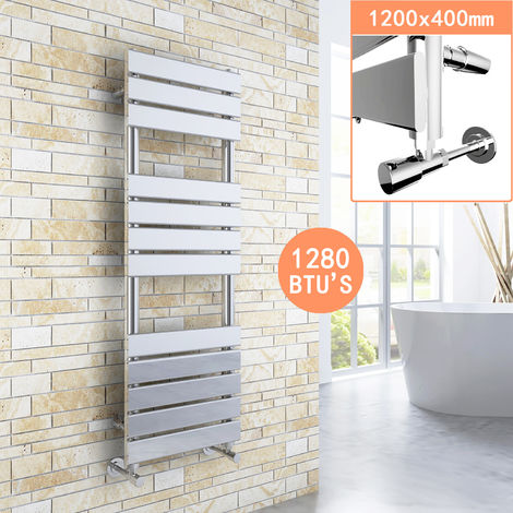 Chrome Designer Flat Panel Heated Towel Rail Radiator