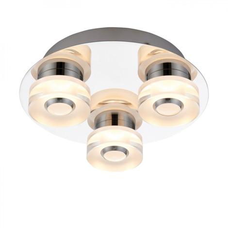 Chrome Effect Plate & Frosted Acrylic 3lt Flush IP44 4.5W & 0.45W by Happy Homewares