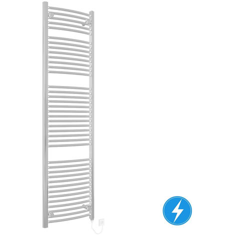 Chrome Electric Curved Bathroom Heated Towel Rail Warmer Radiator Rad 800W 1800x500