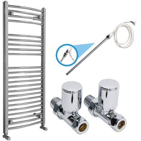 Chrome Electric or Dual Fuel Heated Towel Rail Radiator Kit 1100x500 with Straight Valves