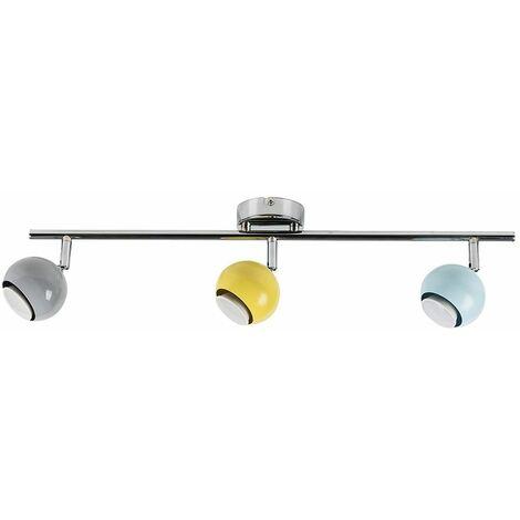 Chrome Eyeball 3 Way Straight Bar Ceiling Spotlight with Yellow, Blue & Grey Shades
