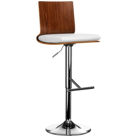 Chrome Finish Base Walnut Wooden Bar Chair In White Leather Effect