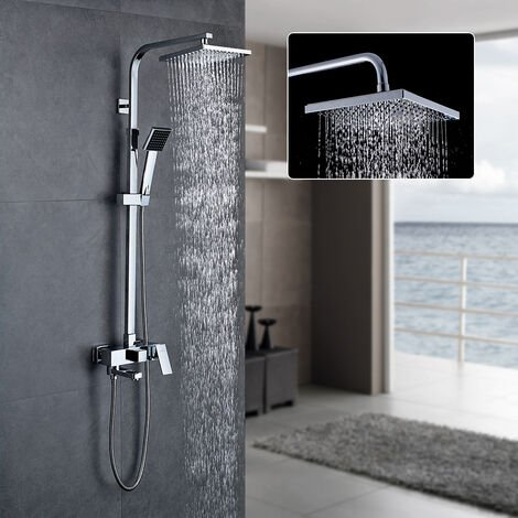 Chrome Finish Bathroom Shower System Set with Square Showerhead and Handheld Shower