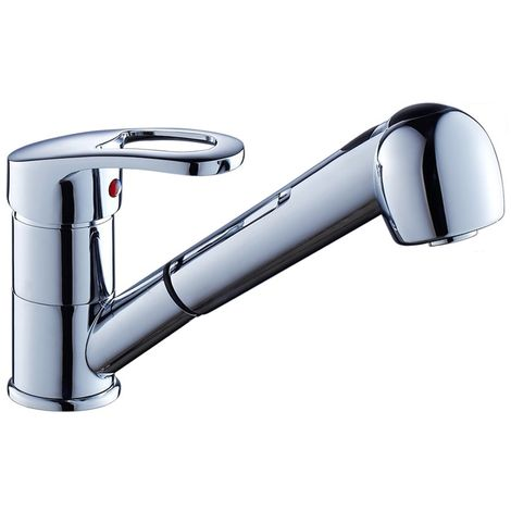 Chrome Finish Kitchen Sink Taps Single Lever Pull Out Sprayer Cold and Hot Water Mixer Faucet