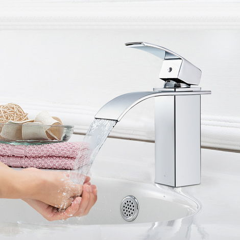 Sccot Basin Mixer Tap Solid Brass Bathroom Sink Tap Mixer Wash Sink Faucet One Hole Deck Mounted Single Lever Cloakroom Hot and Cold Water Tap Black