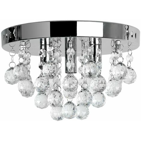 Chrome Flush Ceiling Light Clear Acrylic Jewel Droplets