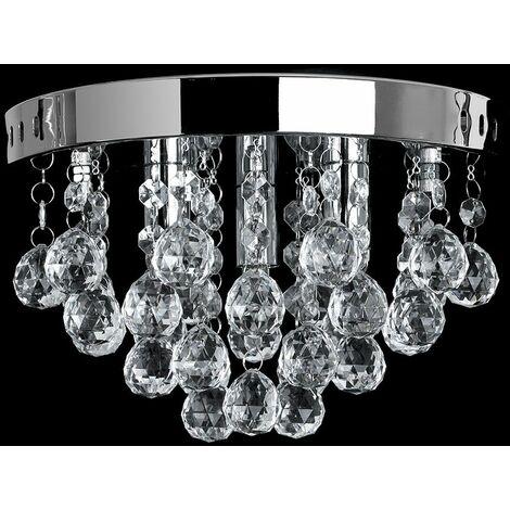 Chrome Flush Ceiling Light Clear Acrylic Jewel Droplets - Add LED