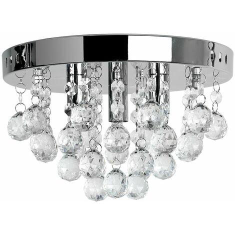 Chrome Flush Ceiling Light Clear Acrylic Jewel Droplets - Add LED Bulbs - Silver